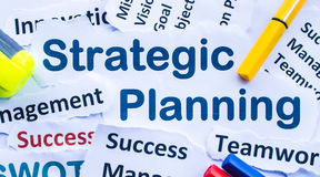 Strategic Planning Banner. Text `Strategic Planning`,paper cut Royalty Free Stock Photos