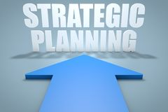 Strategic Planning. 3d render concept of blue arrow pointing to text Royalty Free Stock Images
