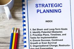Strategic planning seminar concept. Complete with topics on a cover sheet of a lecture Royalty Free Stock Images