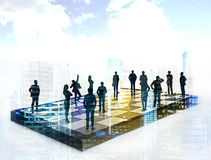 Strategic planning and teamwork concept. Chessboard with businesspeople on New York city background. Concept of strategic planning and teamwork. Double exposure Stock Image