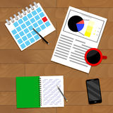 Strategic planning top view. Analysis and organize plan. Vector illustration Stock Images