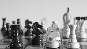 Strategic position, chessboard, chess. Chess board, strategy concept, dolly shot stock video