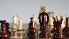 Strategic position, chessboard, chess game. Chess board, strategy concept, dolly shot stock video footage
