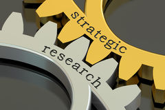 Strategic Research concept on the gearwheels, 3D rendering Stock Photos