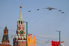 Strategic supersonic bombers. Fly over Red Square during the Military Parade dedicated to the 65th anniversary of the Victory in the Great Patriotic War in Stock Photos