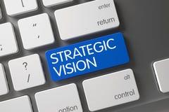 Strategic Vision CloseUp of Keyboard. 3D. Concept of Strategic Vision, with Strategic Vision on Blue Enter Button on Modernized Keyboard. 3D Illustration Stock Image