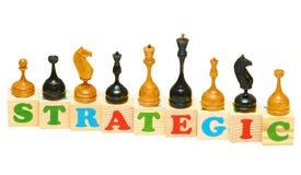 Strategic Wooden Blocks. Alphabet wood blocks forming the word Strategic isolated on a white background Stock Photo