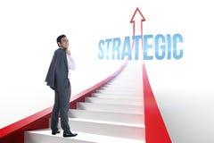 Strategico contro la freccia rossa con i punti grafici Immagine Stock