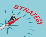 Strategie in bedrijfs vlakke isometrische vector 3d Stock Afbeelding