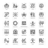 Strategie en Beheers Geplaatste Pictogrammen vector illustratie
