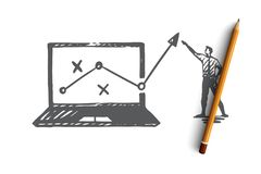 Strategie, marketing, grafiek, diagram, pijlconcept Hand getrokken geïsoleerde vector royalty-vrije illustratie