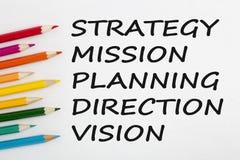 Strategie, Opdracht, Plannings, Richting en Visieconcept stock afbeeldingen
