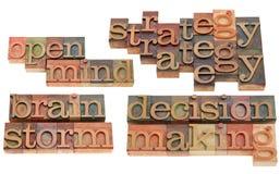 Strategie, uitwisseling van ideeën en besluit die - maken Stock Foto