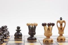 Strategie und Taktiken in einem Spiel des Schachs Stockbilder