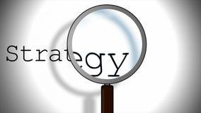 Strategie und Vergrößerungsglas Stockfotografie
