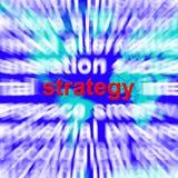 Strategie-Wort, das Planung und Vision zeigt, um Ziele zu erzielen Stockfotos
