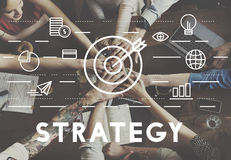 Strategie-Ziel-Auftrag-Ziel-Grafik-Konzept Stockfotos