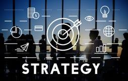 Strategie-Ziel-Auftrag-Ziel-Grafik-Konzept Lizenzfreie Stockfotos