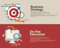 Strategieconcept, het bedrijfs raadplegen, Online Onderwijs vlak modern ontwerp De Banner Design Stock Afbeelding
