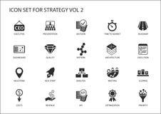 Strategieikone stellte mit verschiedenen Symbolen für strategische Themen wie Optimierung, Armaturenbrett, Prioritisierung ein Stockfotos