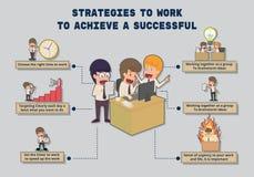 Strategien zu arbeiten, um ein erfolgreiches zu erzielen karikatur stock abbildung