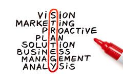 Strategiendiagramm mit roter Markierung Stockfotografie