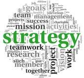 Strategienkonzept in der Wortmarkenwolke Stockbild