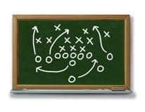 Strategienplanungs-Spielplan-Kreidevorstandfußball b Lizenzfreie Stockfotografie