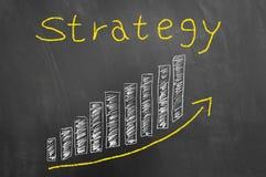 Strategiepfeil herauf die Stangen grafisch auf Tafel vektor abbildung