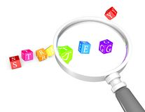 Strategies concept with magnifying glass and game dices Stock Photography