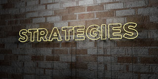 STRATEGIES - Glowing Neon Sign on stonework wall - 3D rendered royalty free stock illustration Royalty Free Stock Image