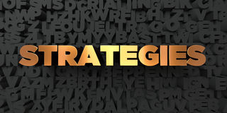 Strategies - Gold text on black background - 3D rendered royalty free stock picture Stock Images