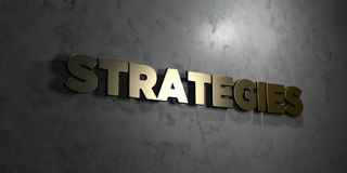 Strategies - Gold text on black background - 3D rendered royalty free stock picture Stock Photography