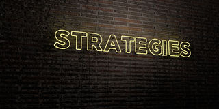 STRATEGIES -Realistic Neon Sign on Brick Wall background - 3D rendered royalty free stock image Stock Photography