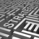 Strategieword in Maze Shows Blueprint Or Plan Stock Afbeeldingen