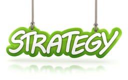 Strategiord som hänger på vit bakgrund Royaltyfri Foto
