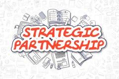 Strategisch partnerschap - Beeldverhaal Rode Tekst Bedrijfs concept royalty-vrije illustratie