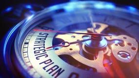 Strategischer Plan - Text auf Weinlese-Taschen-Uhr 3d übertragen Stockfotografie