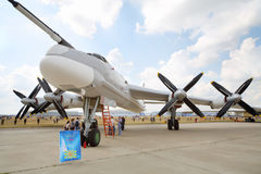 Strategisk bombplan Tu-95MS på airshow Fotografering för Bildbyråer