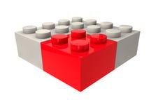 Strategiskt affärsledarskap och begreppsmetaforen för konkurrenskraftig kant med Toy Plastic Blocks isolerade i vit bakgrund Arkivfoton