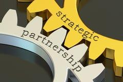 Strategiskt partnerskapbegrepp på kugghjulen, tolkning 3D royaltyfri bild