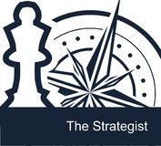 The Strategist on white background - vector simple flat template for web or presentation. Conceptual illustration - the chess queen symbolizes the strategist`s Stock Image