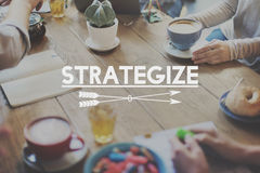 Strategize-Ziel-Auftrag-Ziel-Grafik-Konzept Stockfotografie