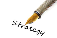 Strategy. Concept with isolated pen and text Stock Images