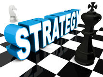 Strategy. Concept, word  settled on a chess board, with king in foreground and a horse in background royalty free illustration