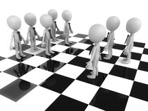 Strategy. Concept, business people on a chess board, against a white background vector illustration