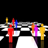 Strategy. Figures stand on a glossy reflective chessboard Royalty Free Illustration