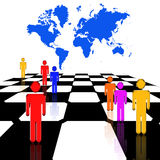 Strategy. Figures stand upon a chessboard with a map of the earth behind them Stock Illustration