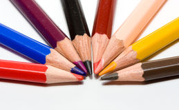 Strategy. Many coloured pencils close up, metaphor of strategy/teamwork Stock Photos