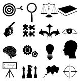 Strategy achieve goals icons set. In black royalty free illustration